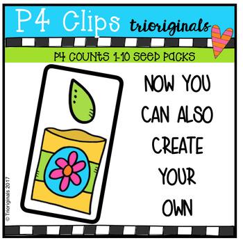 P4 COUNTS 1-10 Packs of Seeds (P4 Clips Trioriginals Clip Art)