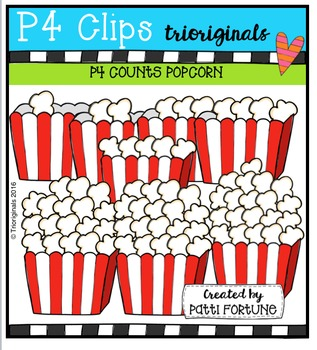 P4 COUNTS Popcorn {P4 Clips Trioriginals Digital Clip Art}