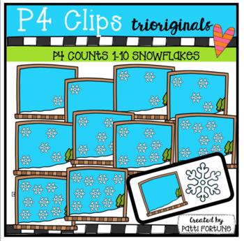 P4 COUNTS Snowflakes (P4 Clips Trioriginals Clip Art)