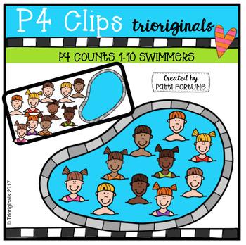 P4 COUNTS Swimmers (P4 Clips Trioriginals Clip Art)