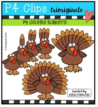 P4 COUNTS Turkeys (P4 Clips Trioriginals Digital Clip Art)