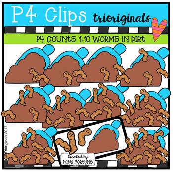P4 COUNTS 1-10 Worms in Dirt (P4 Clips Trioriginals Clip Art)