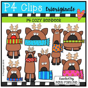 P4 COZY Reindeer (P4 Clips Trioriginals Digital Clip Art)
