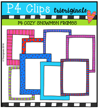 P4 COZY Snowmen Frames (P4 Clips Trioriginals Digital Clip Art)
