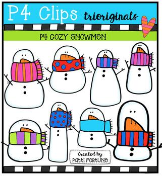 P4 COZY Snowmen (P4 Clips Trioriginals Digital Clip Art)