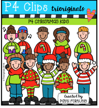 P4 Christmas Kids (P4 Clips Trioriginals Clip Art)
