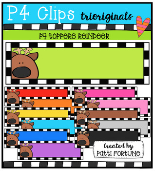 P4 TOPPERS Reindeer ( P4 Clips Trioriginals Digital Clip Art)