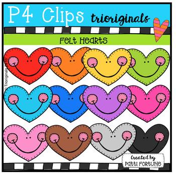 P4 FELT Hearts (P4 Clips Trioriginals Clip Art)