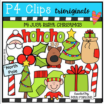 P4 JUST RIGHT Christmas (P4 Clips Trioriginals Digital Clip Art)