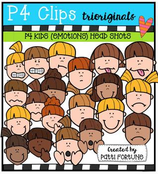 P4 KIDS Emotion Faces (P4 Clips Trioriginals Digital Clip Art)