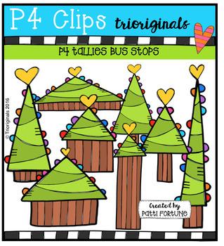 P4 LOVE Christmas Trees (P4 Clips Trioriginals Digital Clip Art)