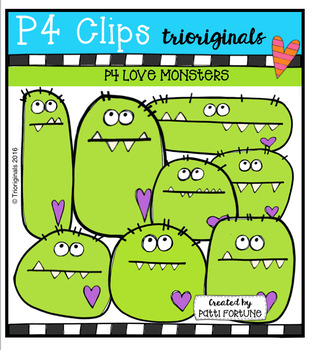 P4 LOVE Monsters (P4 Clips Trioriginals Digital Clip Art)