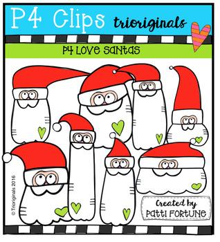 P4 LOVE Santas (P4 Clips Trioriginals Digital Clip Art)