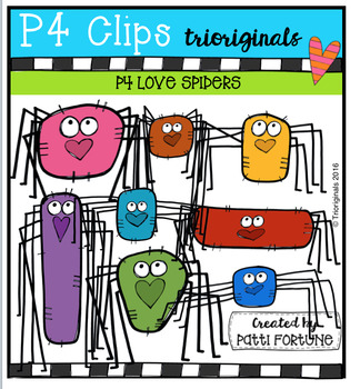 P4 LOVE Spiders (P4 Clips Trioriginals Digital Clip Art)