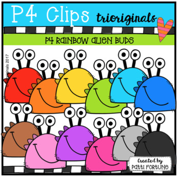 P4 RAINBOW Alien Buds (P4 Clips Trioriginals Clip Art)