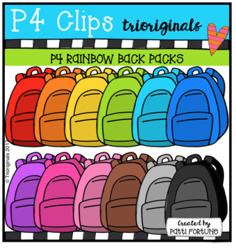P4 RAINBOW Back Packs (P4 Clips Trioriginals Clip Art)