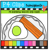 P4 RAINBOW Bacon and Eggs ( P4 Clips Trioriginals Digital Clip Art)