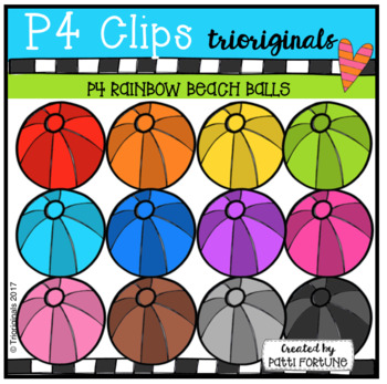 P4 RAINBOW Beach Balls (P4 Clips Trioriginals Clip Art)