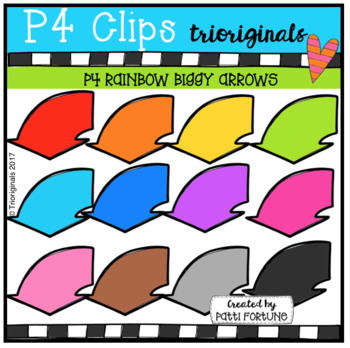 P4 RAINBOW Biggy Arrows (P4 Clips Trioriginals Clip Art)