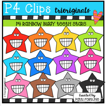 P4 RAINBOW Biggy Teeth Stars (P4 Clips Trioriginals Clip Art)