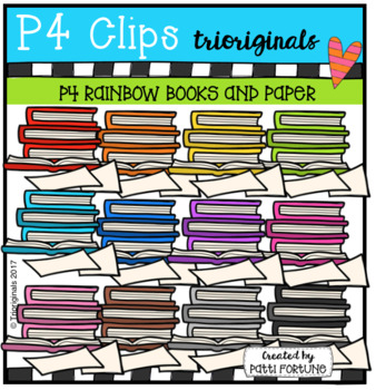 P4 RAINBOW Books and Paper (P4 Clips Trioriginals Clip Art)