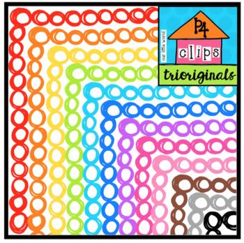 P4 RAINBOW Bubble Borders (P4 Clips Trioriginals Clip Art)