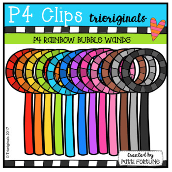 P4 RAINBOW Bubble Wands (P4 Clips Trioriginals Clip Art)
