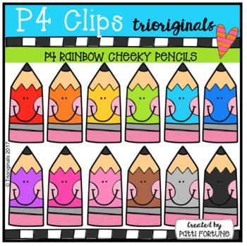 P4 RAINBOW CHEEKY Pencils (P4 Clips Trioriginals Clip Art)