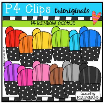P4 RAINBOW Cactus (P4 Clips Trioriginals Clip Art)
