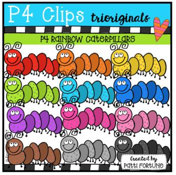 P4 RAINBOW Caterpillars (P4 Clips Trioriginals Clip Art)