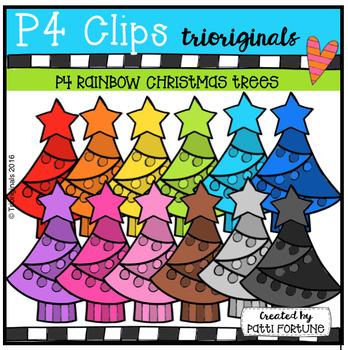 P4 RAINBOW Christmas Trees (P4 Clips Trioriginals Digital Clip Art)