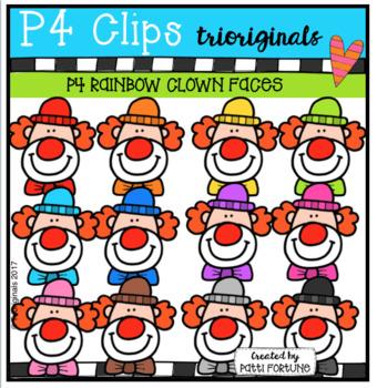 P4 RAINBOW Clown Faces (P4 Clips Trioriginals Clip Art)