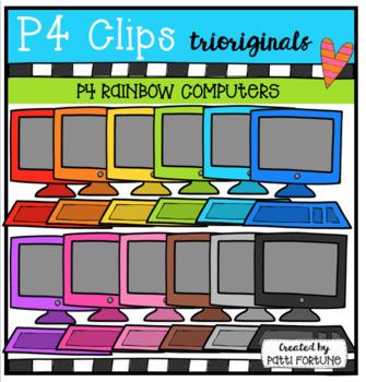 P4 RAINBOW Computers (P4 Clips Trioriginals Clip Art)