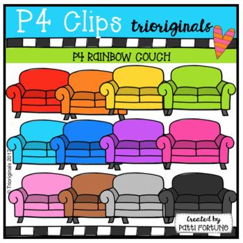 P4 RAINBOW Couch (P4 Clips Trioriginals Clip Art)