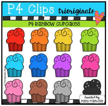 P4 RAINBOW Cupcakes (P4 Clips Triorignals Clip Art)