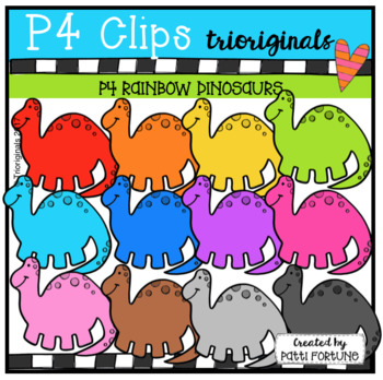 P4 RAINBOW Dinosaurs (P4 Clips Trioriginals Clip Art)