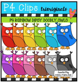 P4 RAINBOW Dipsy Doodly Owls (P4 Clips Trioriginals Clip Art)