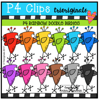 P4 RAINBOW Doodle Birdies (P4 Clips Trioriginals Clip Art)