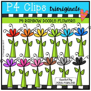 P4 RAINBOW Doodle Flowers (P4 Clips Trioriginals Clip Art)