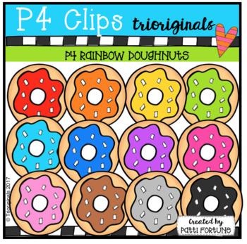 P4 RAINBOW Doughnuts (P4 Clips Trioriginals Clip Art)