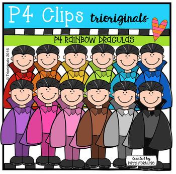 P4 RAINBOW Draculas (P4 Clips Trioriginals Digital Clip Art)