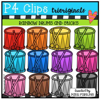 P4 RAINBOW Drums and Sticks (P4 Clips Trioriginals Clip Art)