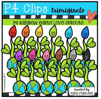 P4 RAINBOW Earth Love Sprouts (P4 Clips Trioriginals Clip Art)