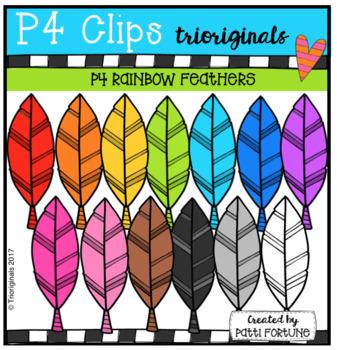 P4 RAINBOW Feathers (P4 Clips Trioriginals Clip Art)