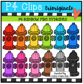 P4 RAINBOW Fire Hydrants (P4 Clips Trioriginals CLip Art)