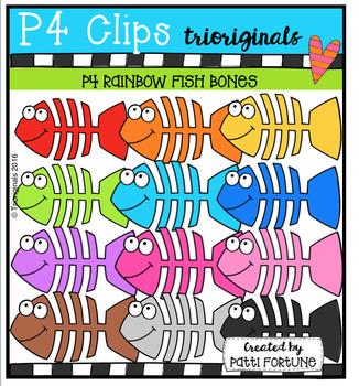 P4 RAINBOW Fish Bones (P4 Clips Trioriginals Digital Clip Art)