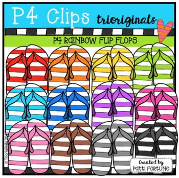 P4 RAINBOW Flip Flops (P4 Clips Trioriginals Clip Art)
