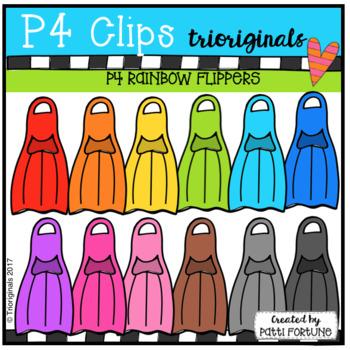 P4 RAINBOW Flippers (P4 Clips Trioriginals Clip Art)