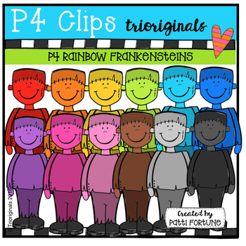 P4 RAINBOW Frankensteins (P4 Clips Trioriginals Digital Clip Art)