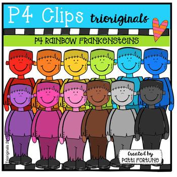 P4 RAINBOW Frankensteins (P4 Clips Trioriginals Digital Clip Art)